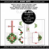 XMAS JOLLY HOLLY SQUARE CARD AND ENVELOPE SET