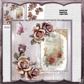 Cottage rose card and decoupage
