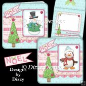 Penguin and Snowman Noel Cards