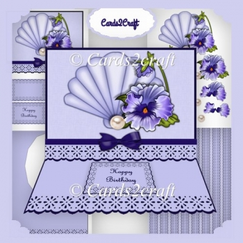 Pansy and shell large easel card
