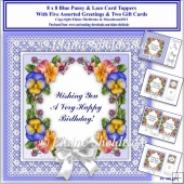8 x 8 Blue Pansy & Lace Card Toppers