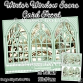 Green Winter Window Scene Card Front