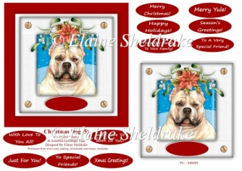 Christmas Puppy Dog (5) 6 x 6 Card Topper With Lots Of Greetings