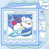 SKIING BEAR 7.5 Christmas Decoupage & Insert Mini Kit