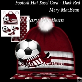Football Hat Easel Card - Dark Red