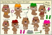 Squishy Bear Happy Flappers CU Clipart