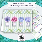 LOVE - Hydrangeas 3D Decoupage Tent Card & Insert