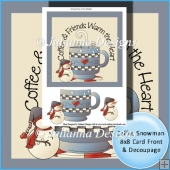 Coffee Snowman 8x8 Card Topper with Decoupage