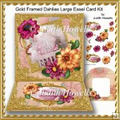 Gold Framed Dahlias Large Easel Card Kit