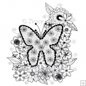 Floral Butterfly Digital Stamp - Commercial and Personal Use