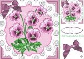 pretty pink pansies with diamond swirls & bow 8x8