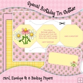 Special Birthday Tri Shutter Card, Envelope & Backing Papers