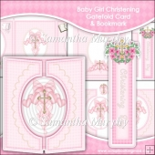 Baby Girl Christening Gatefold Card & Bookmark