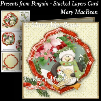 Presents from Penguin - Stacked Layers Card