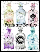 Shabby Chic Perfume Bottle Collage Sheet for Embellishments