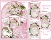 Cottage Chic Easter Welcome Arched Pocket Card with Tags