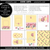 Summer Rose Cards, Envelopes and Craft Papers