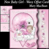 New Baby Girl - Wavy Offset Card