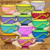 Colourful Teacups Clipart Collection