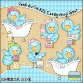 Sweet Birdies Bath Time ClipArt Graphic Collection