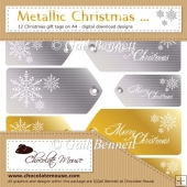 12 Metallic Christmas Tags