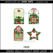 XMAS JOLLY HOLLY FREE TAGS