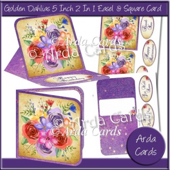 Golden Dahlias 2 in 1 Easel & Square Card