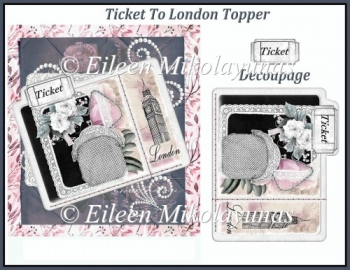 Ticket to London Topper with Decoupage