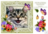 Fluffy Tabby Cat 8 x 8 Card Topper With Pansy Decoupage