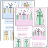 Pink + Blue Gift Box Card Toppers