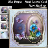 Blue Poppies - Multi-Layered Card