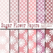 SUGAR Flower Papers - 12 printable A4 digital papers CUOK