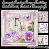 Summer Pansies Penny Farthing Card Front
