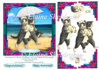 Victorian Cats Beach Wedding-Anniversary 6x6 Topper & Decoupage