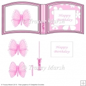 Pink Butterfly Happy Birthday Open Book Sheet