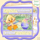 EASTER CHICK EGG PAINTING 7.5 Decoupage & Insert Card Kit