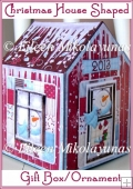 Christmas House Shaped Gift Box or Ornament with Directions