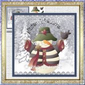 Winter welcome snowman 7x7 card with decoupage