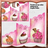 parade of cup cakes cascade card with toppers