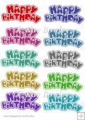 10 Funky coloured joined birthday tags