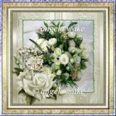 wedding rose 6.5x6.5 approx card with decoupage