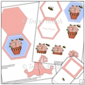 Buzzy Bee Pink Flower Pot Plate Card and Stand Set