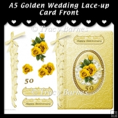 A5 Golden Wedding Lace-up Card Front