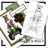 Duggie And Max 3 Digital Boy And Dog Stamp With Quadbike