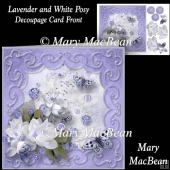 Lavender and White Posy - Decoupage Card Front