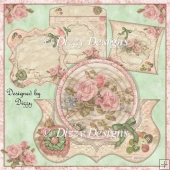 Vintage Roses Card Kit with Pillow Box