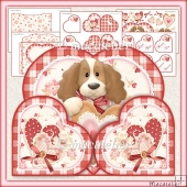 Puppy Love Heart Shaped Wrap Around Gatefold Card