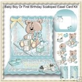 Baby Boy Or First Birthday Scalloped Easel Card Kit