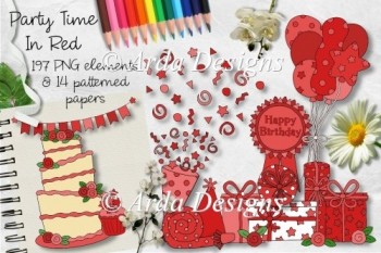 Party Time In Red CU Clipart & Paper