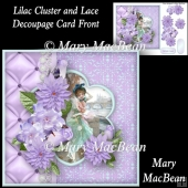 Lilac Cluster and Lace Decoupage card Front